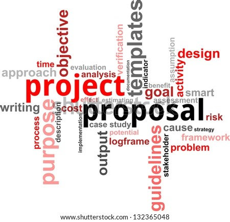 A word cloud of project proposal related items - stock photo