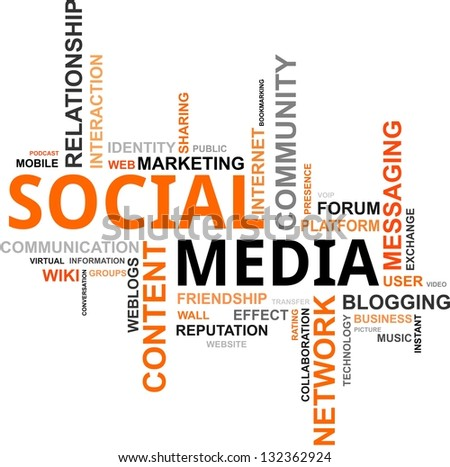 A word cloud of social media related items - stock photo