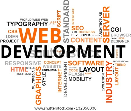 A word cloud of web development related items - stock photo