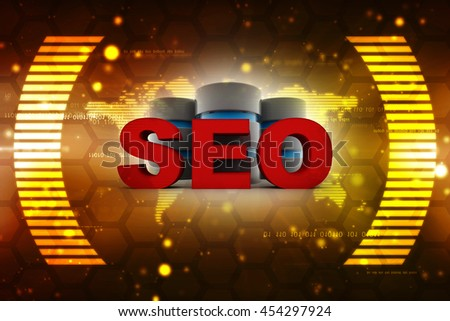 """a word """"SEO"""" and a earth data. 3d render illustration - stock photo"""
