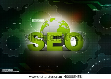 """a word """"SEO"""" and a earth globe. 3d render illustration - stock photo"""
