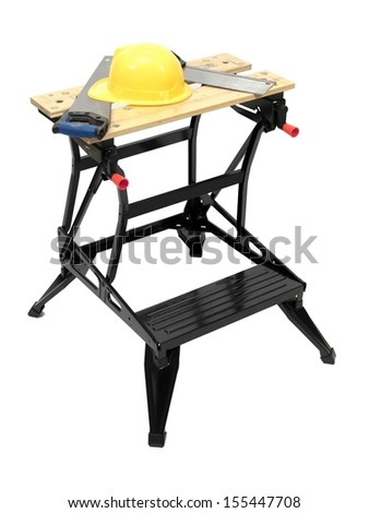 A work bench isolated against a white background - stock photo