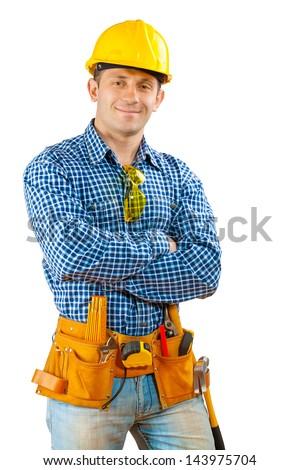 a worker in helmet - stock photo
