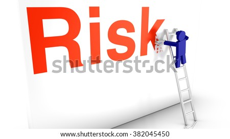 A worker on a ladder erases the red word risk from a wall by painting it over 3d concept illustration - stock photo