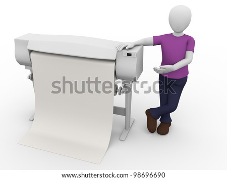 A worker with a plotter. Large printer for graphic arts - stock photo