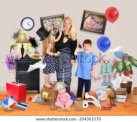 A working mother is stressed and tried on a cell phone with wild children and a baby making a mess in the home for a discipline or parenting concept.  - stock photo