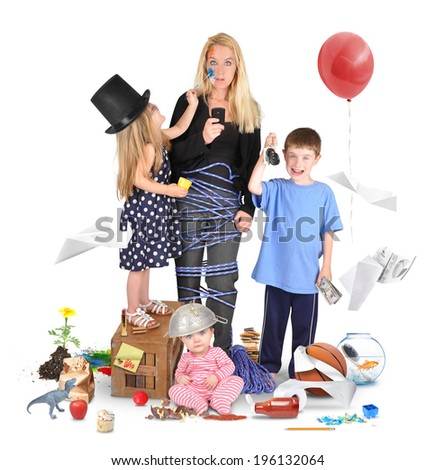 A working mother is stressed and tried on a cell phone with wild children making a mess for a discipline or parenting concept.  - stock photo
