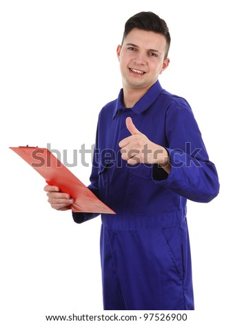 A workman with a thumbs up sign and a clipboard, isolated on white - stock photo