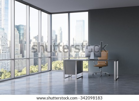 A workplace in a modern corner panoramic office with New York view. A black desk with a modern computer and brown leather chair. A concept of consulting services. 3D rendering.