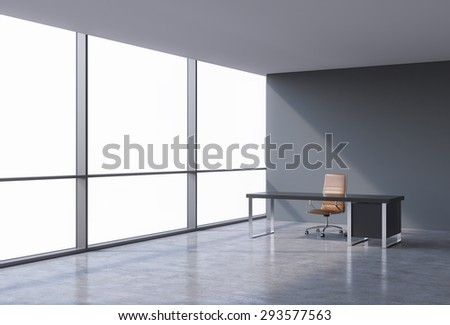 A workplace in a modern panoramic office, copy space on windows. A brown leather chair and a black table. A concept of financial consulting services. 3D rendering.