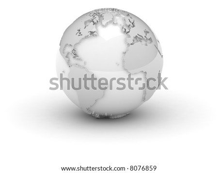A world in white with relief, isolated over white