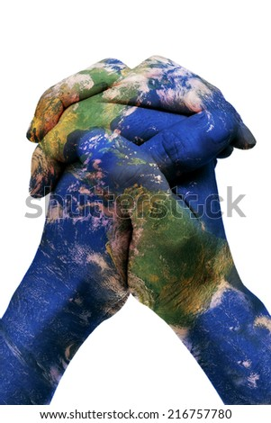 a world map in man hands forming a globe (Earth map furnished by NASA) - stock photo