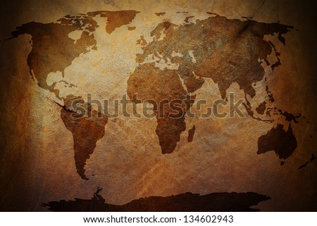 World map print on old vintage stock photo royalty free 134602943 a world map print on an old vintage brown leather parchment gumiabroncs Gallery