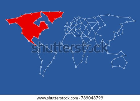 World map template dot connected map stock illustration 789048799 a world map template dot connected map for graphic design use with the usaamerica gumiabroncs Image collections