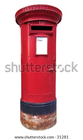 A worn and isolated, British type of mailbox