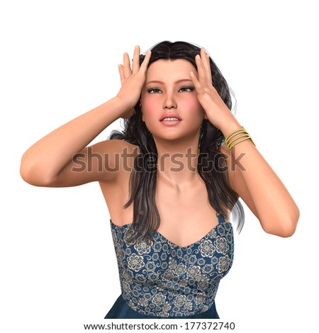 A worried or afraid young woman. Digital rendered image. - stock photo