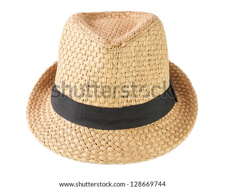A woven fashion hat isolate on white background - stock photo