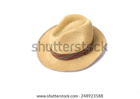 A woven fashion hat isolate on white background. - stock photo
