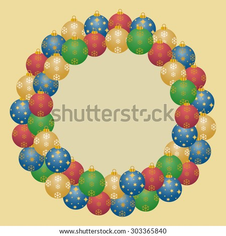 A wreath from many colorful christmas balls on a light golden background with a large copy space in a square format - stock photo