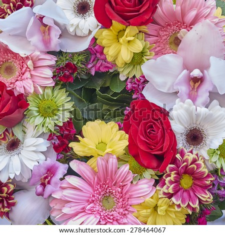 a wreath of colorful flowers, natural background