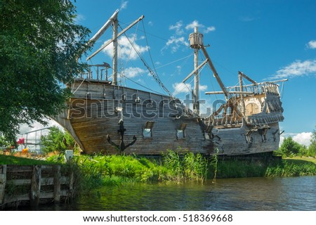 a wreck of pirates ship, old woode ship