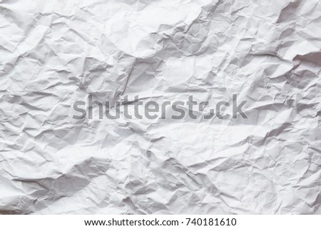A wrinkled wadded up piece of white paper. For textures and backgrounds