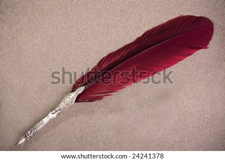 A writing feather on sand - stock photo