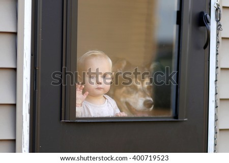 A 1 year old baby girl and her pet German SHepherd Dog are waiting at the door of their home, looking out the window patiently.