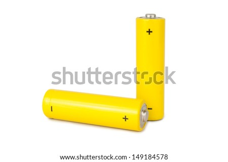 A yellow battery isolated over white background - stock photo