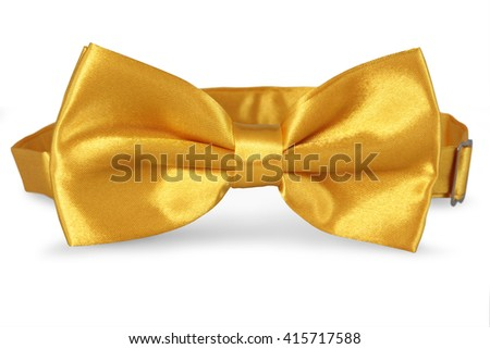 A yellow bow Tie, isolated on white background - stock photo