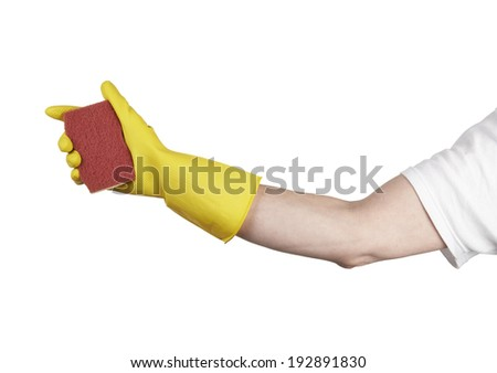 A yellow cleaning glove with a sponge against a white background - stock photo
