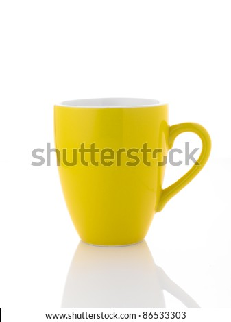 A yellow coffee cup on white background