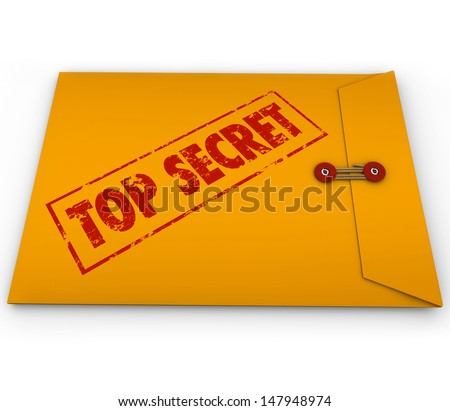 A yellow envelope with the stamped words Top Secret to illustrate that an important, confidential and classified document is inside - stock photo