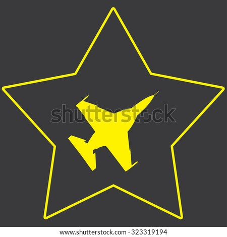 A Yellow Icon Isolated on a Grey Background inside a star - Fighter Jet