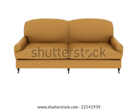 a yellow leather sofa isolated on white background.