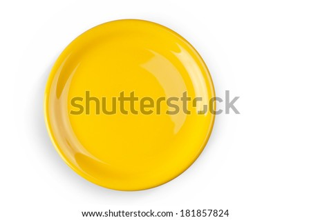 A yellow plate on the white background