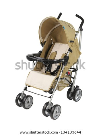 A yellow pram isolated on white background - stock photo