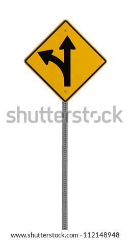 A yellow road warning sign isolated on white. Includes clipping path.