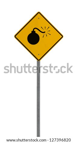 A yellow road warning sign isolated on white. Includes clipping path. - stock photo