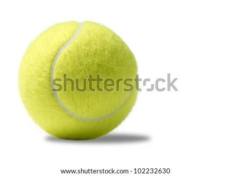 a yellow tennis ball on a white background - stock photo