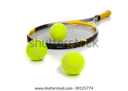 A yellow tennis racquet with yellow tennis balls on a white background - stock photo