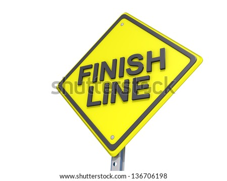 A yield road sign with Finish Line