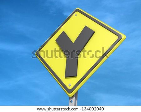 Y Intersection W25 Traffic Sign Warning  TR02W25