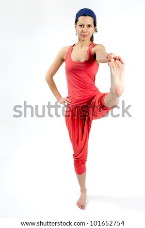 A yoga position for balance and stretching - stock photo
