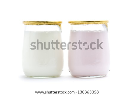 a yogurt, a healthy and delicious dessert - stock photo