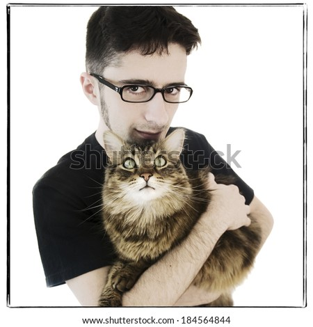 A young adult man on isolated white background holding his big maine coon cat, instagram style - stock photo