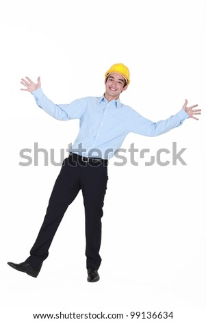 A young and happy-go-lucky engineer - stock photo