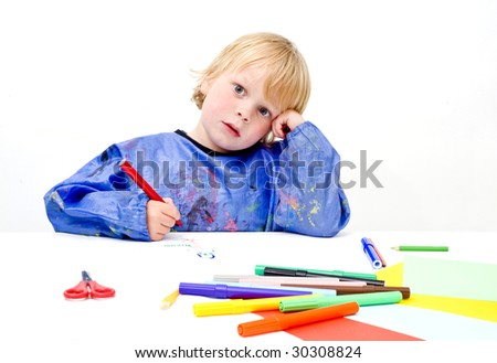 A young artist enduring a creative block