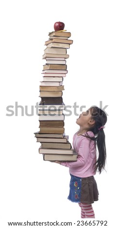A young asian Girl hold the weight of knowledge.