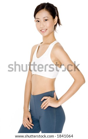 A young asian woman ready for a workout